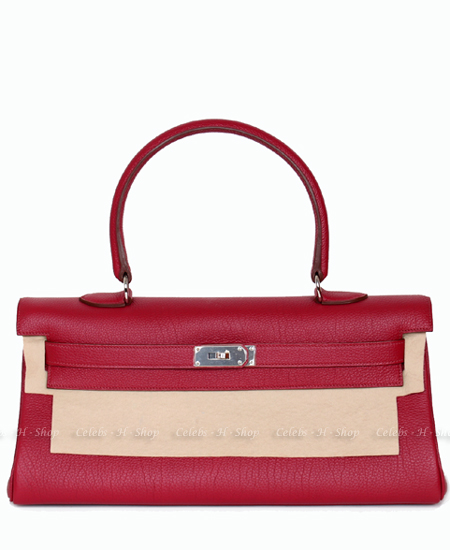 HERMES Ruby Shoulder Kelly 42 Silver