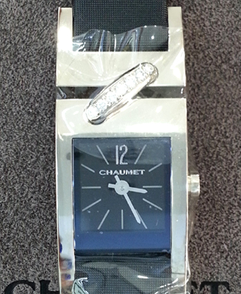 CHAUMET 18K WG Liens Dia Black Watch
