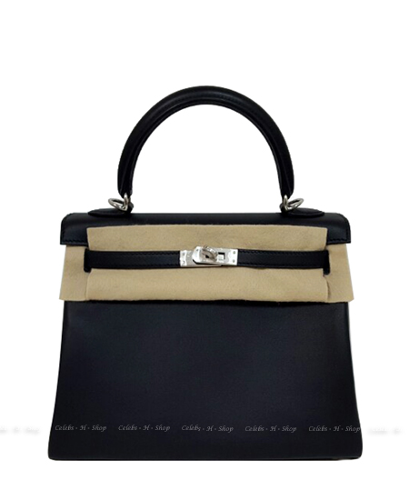 HERMES Black Kelly 25 Silver