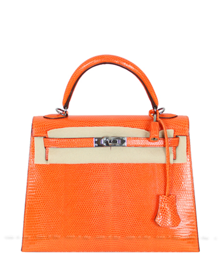 HERMES Orange Lizard Kelly 25 Silver