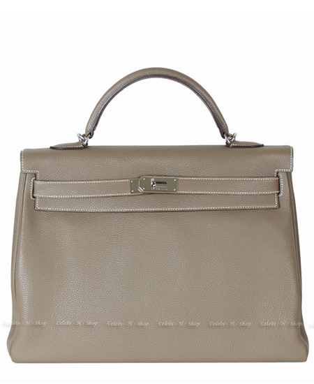 HERMES Etoupe Kelly 40 Silver