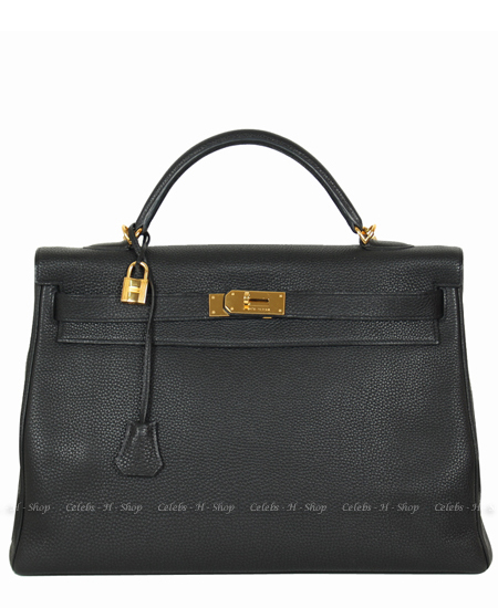 HERMES Black Kelly 40 Gold