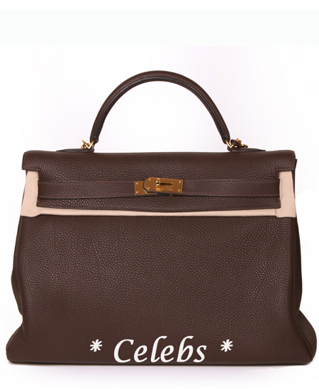 HERMES Choco Brown Kelly 40 Gold