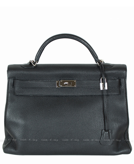 HERMES Black Kelly 40 Silver