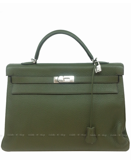 HERMES Olive Green Kelly 40 Silver