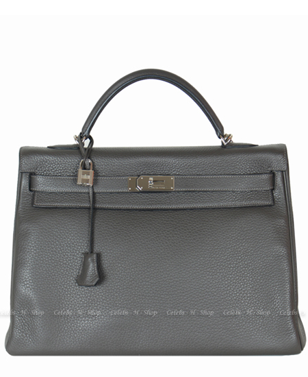 HERMES Graphite Kelly 40 Silver