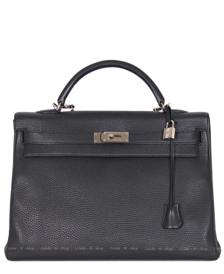 HERMES Black Kelly 40 Silver+